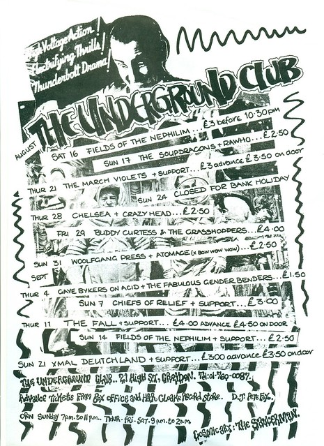 THE UNDERGROUND CLUB IN CROYDON: XMAL DEUTCHLAND, MARCH VIOLETS, THE FALL, WOLFGANG PRESS, ETC 1985