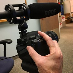 Testing out video equipment for tomorrow's video shoot at the library!