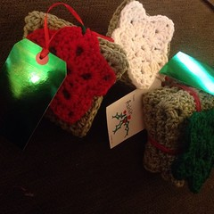 Ashlin's teacher #presents. #crochet #dishcloths and #ornaments