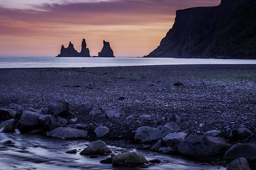 sunset iceland vik trolls