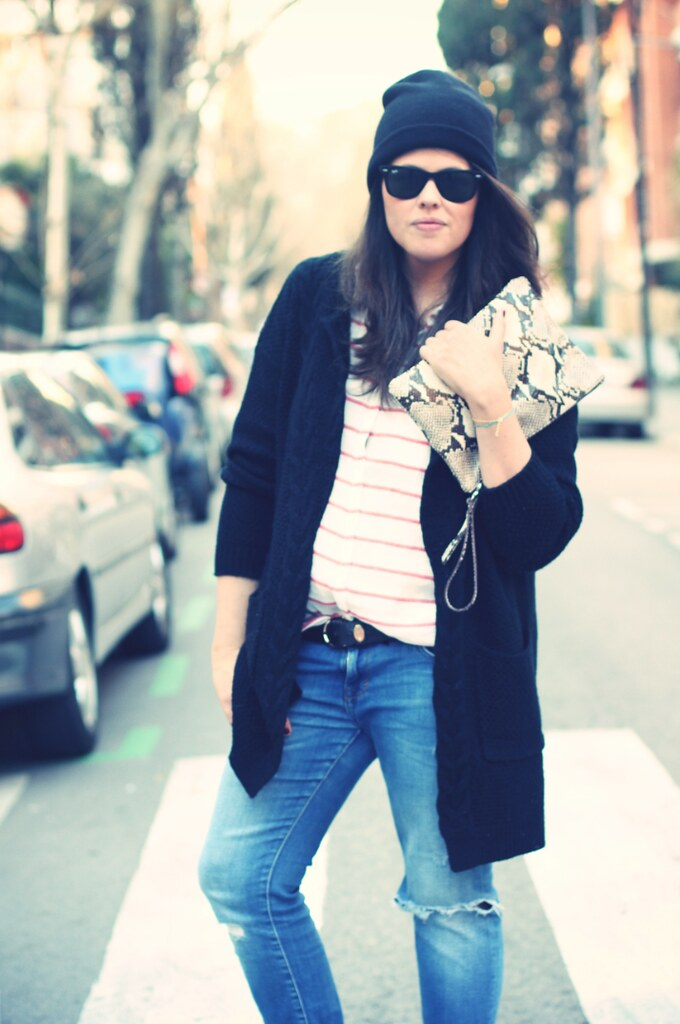 Look maxi cardigan black + stripes shirt