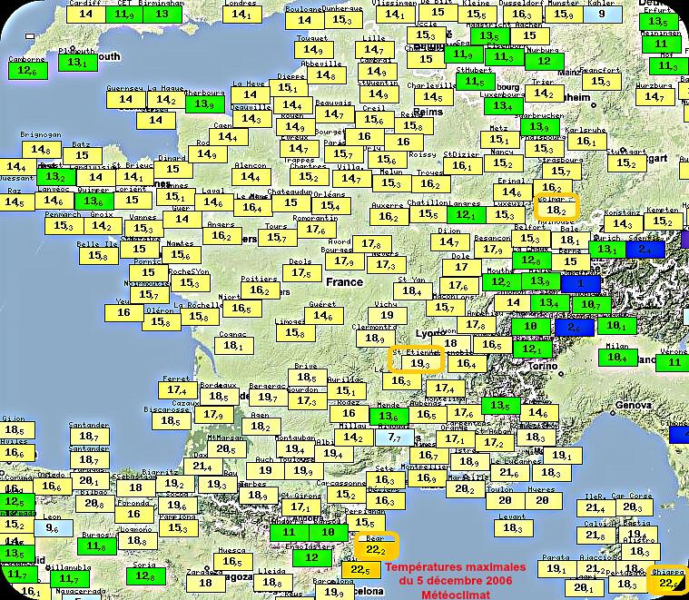 grande douceur des températures maximales du 5 décembre 1989 météopassion