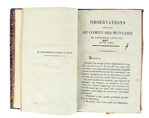 Augustin Dupré Observations pamphlet