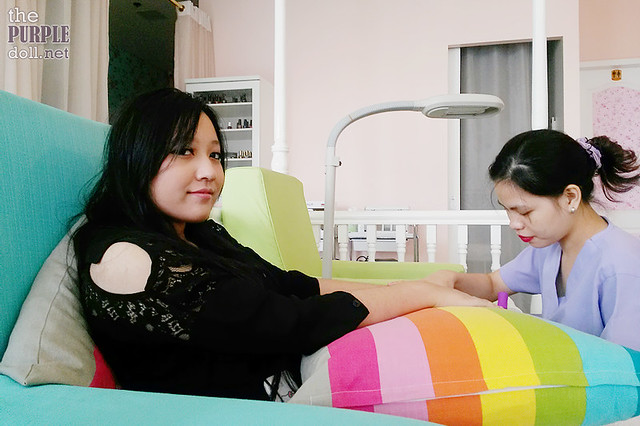 Little Sis enjoying her mani-pedi at Make Me Blush Nail Spa