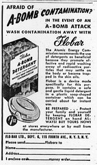 Afraid of A-Bomb Contamination? In the event of an A-Bomb Attack wash away contamination with Flobar A-Bomb Detergent!