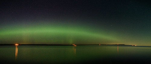Panoramic  (slightly misstitched) of Aurora from  Earlier this year Miramichi Bay area, New Brunswick, Canada