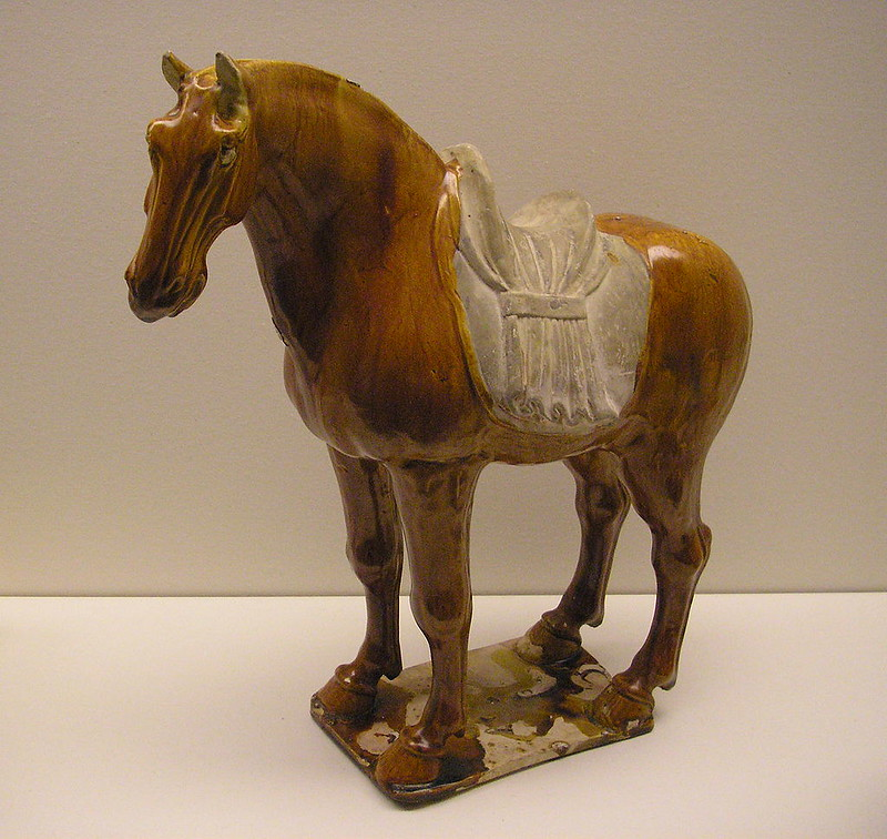 Red ceramic glazed porcelain horse from the Tang dynasty