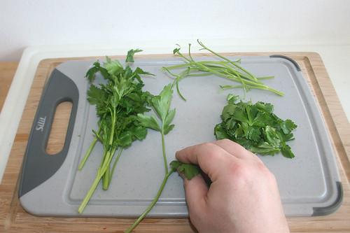 49 - Petersilienblättchen von Stielen zupfen / Pick parsley leaflets