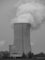 monochrome photography, cooling tower, monochrome, black-and-white, power station, nuclear power plant,