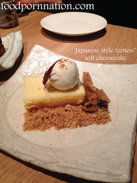 Japanese cotton style cheese cake, robata grilled pears with cream cheese ice cream