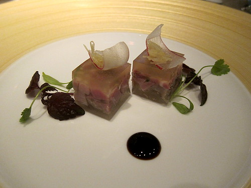 Marinated Duke of Berkshire pork with Osmanthus wine jelly
