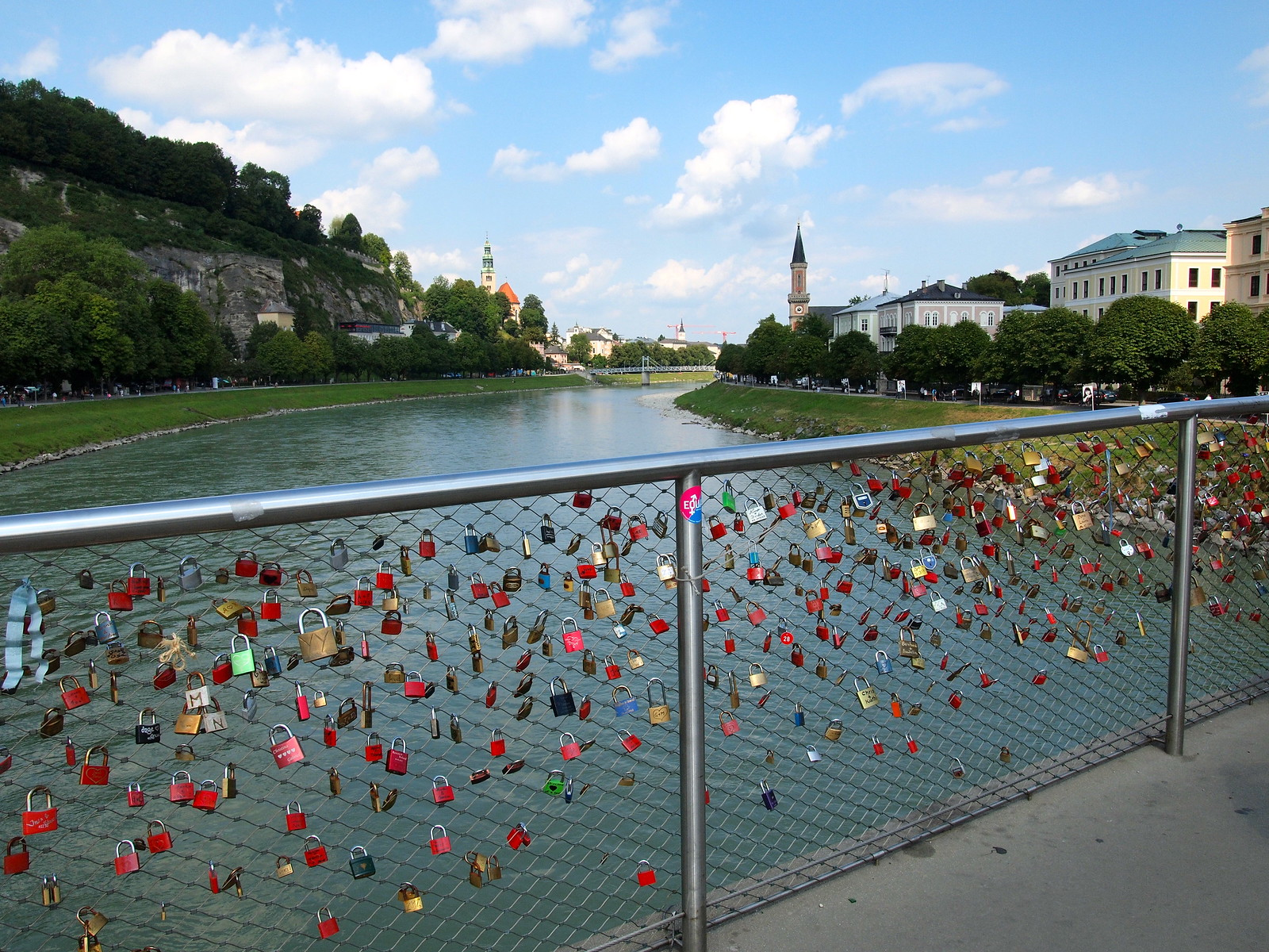 Love locks on the Makartsteg footbridge in Salzburg