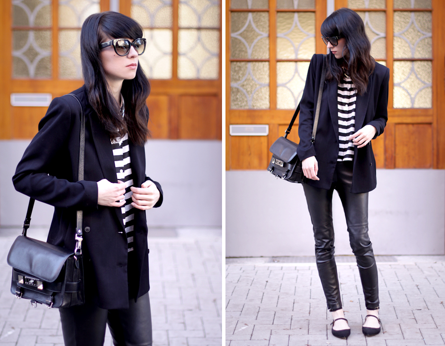 outfit ootd black stripes white look flats bangs spring proenza schouler ps11 mango zara ricarda schernus blog 2