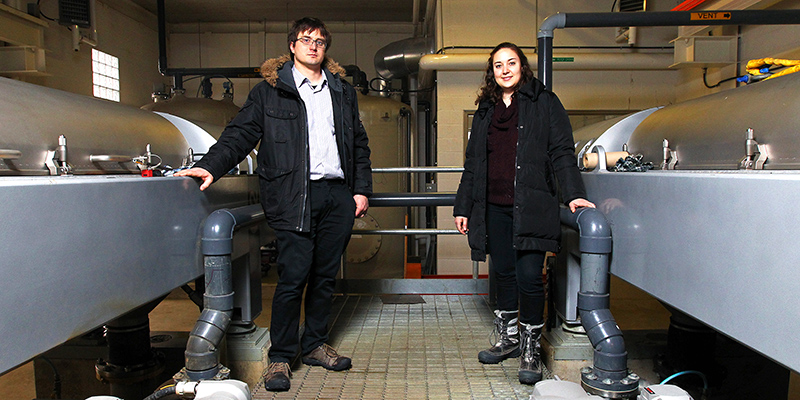 Post-doctoral fellow Roland Lee and PhD student Ana Ramos have earned real world experience by collaborating with Utilities Kingston on wastewater treatment. (Photo by Lars Hagberg)