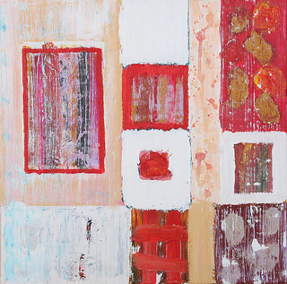 textures in white pink and red