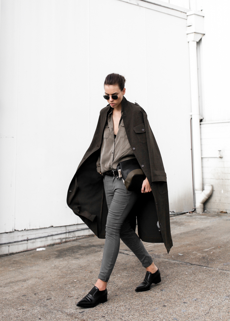 MODERN LEGACY fashion blog street style Westfield Witchery khaki trend military coat jacket trio clutch Stella McCartney loafers (1 of 1)