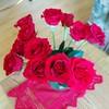Birthday roses blooming