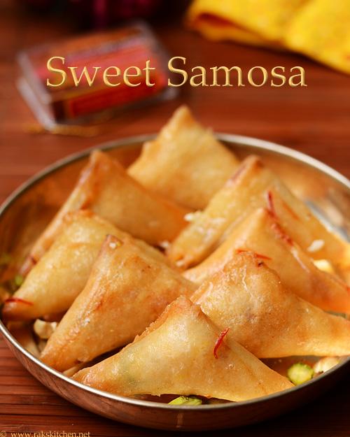 sweet samosa with khoya, nuts