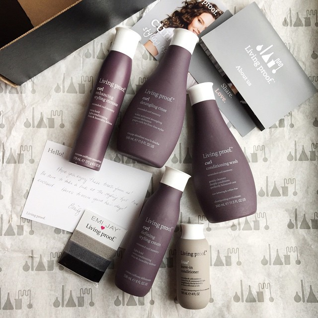 Emily from @LivingProofInc emailed me out of the blue a month ago and told me she wanted to send me a box of hair goodies. I thought, um, ok... Why not?! I was expecting some samples... Not THIS!! I received full size bottles of their Curl Conditioning Wa