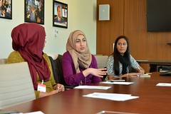 Participants in the Department of State's Meetup for the International Women of Courage (IWOC) Award Ceremony share their insights on efforts to empower women around the globe, at the U.S. Department of State in Washington, D.C., on March 6, 2015.