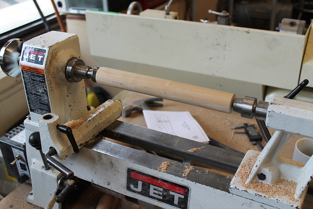 Dowel mounted on lathe