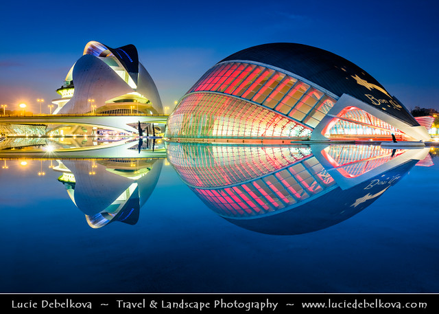 Spain - Valencia - City of Arts and Sciences at Dusk - Twilight - Blue Hour - Night