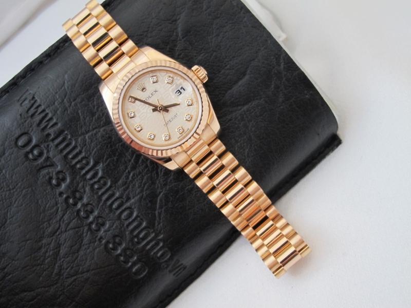 Bán đồng hồ Rolex datejust 6 số Nữ 179175 – Vàng hồng 18k – mặt vi tính xoàn – size 26
