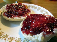 English Muffin With Raspberry Jam.