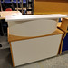 White and beech reception counter