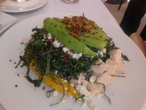 Fall salad with black kale, avocado, acorn squash, chicken, blue cheese and bacon, Cafe Boulud Palm Beach