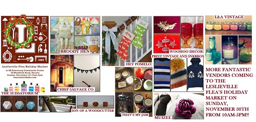 MORE FANTASTIC VENDORS COMING TO THE LESLIEVILLE FLEA'S HOLIDAY MARKET ON SUNDAY, NOVEMBER 30TH FROM 10AM-5PM!!
