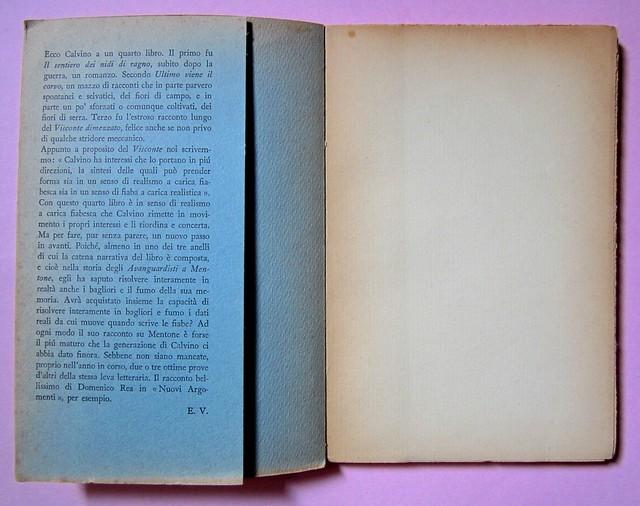 L'entrata in guerra, di Italo Calvino. Einaudi 1954. [Progetto grafico di Albe Steiner]. Risvolto di copertina, verso di cop., carta di guardia (part.), 1