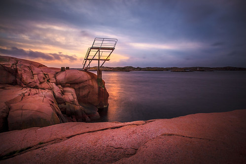 sunset sea tower water landscape bath rocks wind sweden air sverige bohuslän smögen longtimeexposure bohusgranit tenstopps