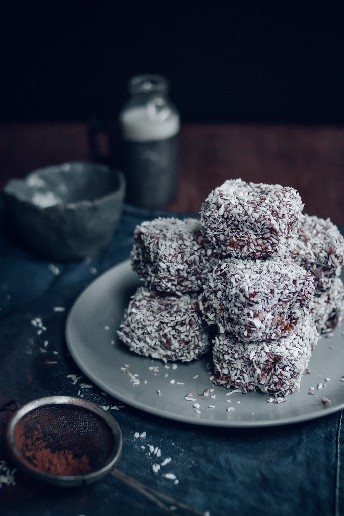 Lamingtons - Vanilla Sponge Filled With Jam and Coated in Chocolate & Dessicated Coconut