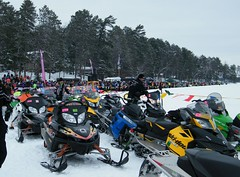 Lightening fast snowmobiles and gorgeous gals