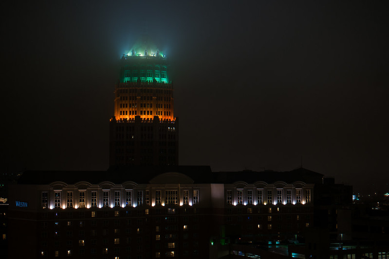 Tower Life Building in Fog