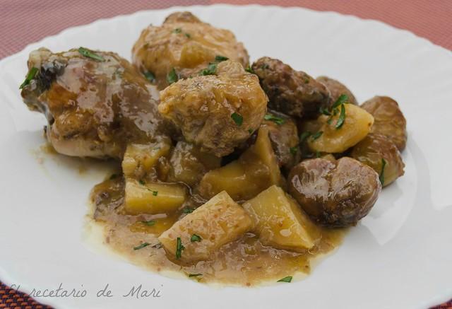 pollo en salsa de higos con castañas