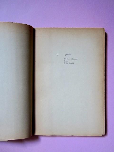L'entrata in guerra, di Italo Calvino. Einaudi 1954. [Progetto grafico di Albe Steiner]. Pagina dell'occhiello (part.), 1