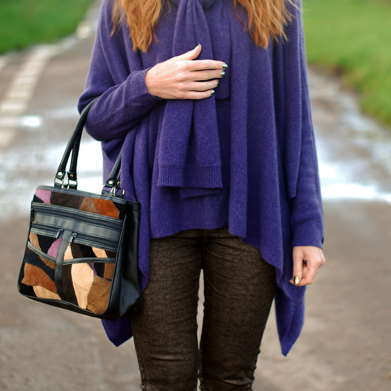 Purple poncho and patchwork bag