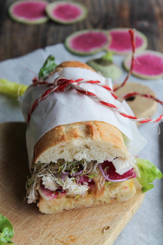 Sandwich poulet - crudités