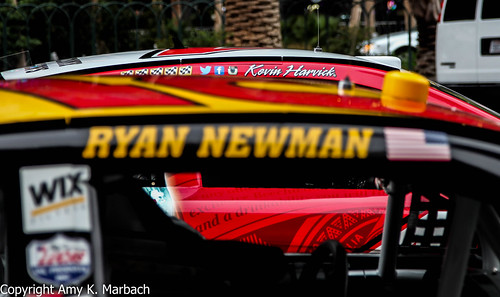 Kevin Harvick and Ryan Newman lined up on Las Vegas Blvd.