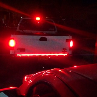 The light bar is a streetglow The rear lights are LEDIn the third center light is on so LED
