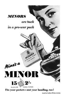 1953 Minors Cigarettes ad