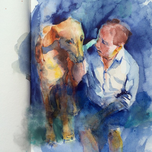 "Watercolour painting by Ako Lamble ""Mike and Henry"" touched up with iPad."