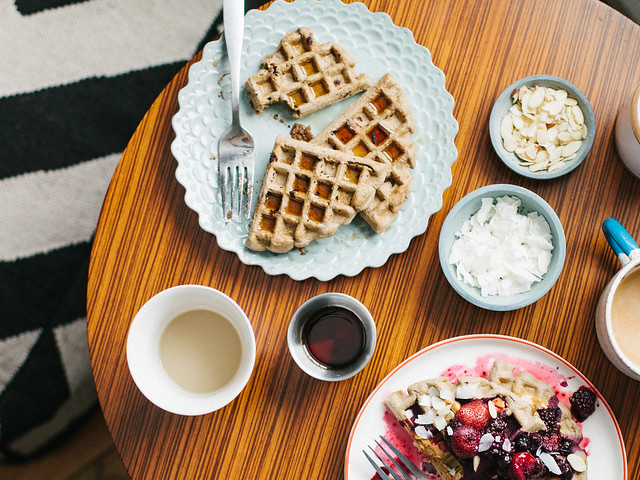 Chocolate chip buckwheat waffles