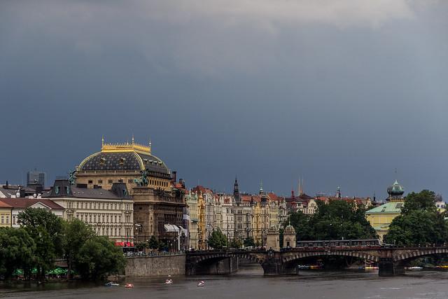 Czech Republic - Prague - Legion Bridge (Most Legií) and National Theatre (Národní Divadlo)