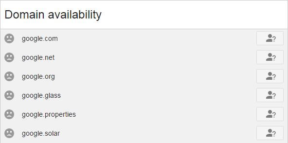 網域名稱前出現灰色哭臉就表示該網域名稱已被註冊