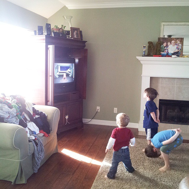 Special thanks to my friend, @mporbeck , for recommending Cosmic Kids yoga on YouTube. If your kids are going stir crazy, it's sure to provide some fun, indoor movement! Just ignore Mt. Laundry taking over my living room chair. #mboys2015
