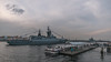 Saint-Petersburg, English embankment, Neva river, warship.