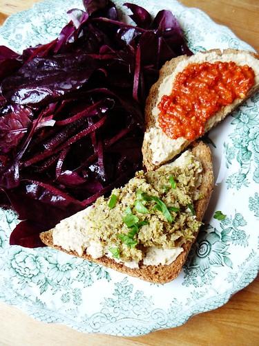 Purple salad + toast with hummus